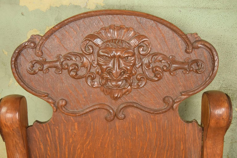Victorian Oak Armchair with Zeus Face 3