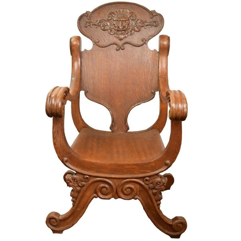 Victorian Oak Armchair with Zeus Face