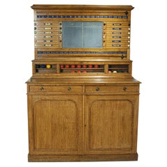 Victorian Oak Billiard, Lifepool Scoreboard with Cabinet