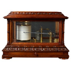 Victorian Oak Cased Carved Barograph by Short & Mason, London