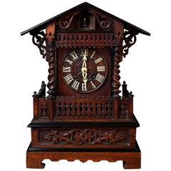 Victorian Oak Cased Mantel Cuckoo Clock