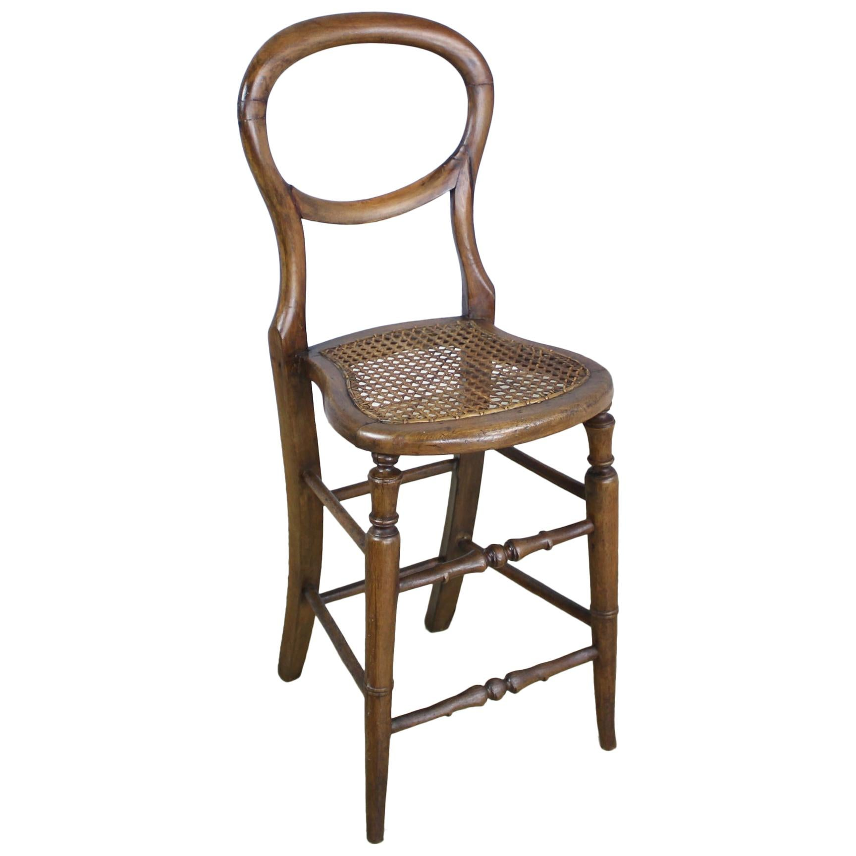 "Victorian Oak Child's ""Correction"" Chair"