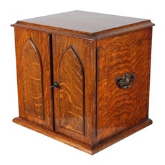 Victorian Oak Collector's Cabinet, 19th Century