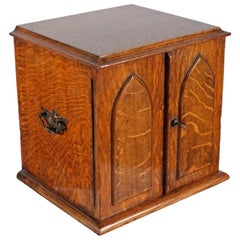 Victorian Oak Collector's Cabinet, 19th Century