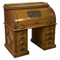 Victorian Oak Cylinder Desk