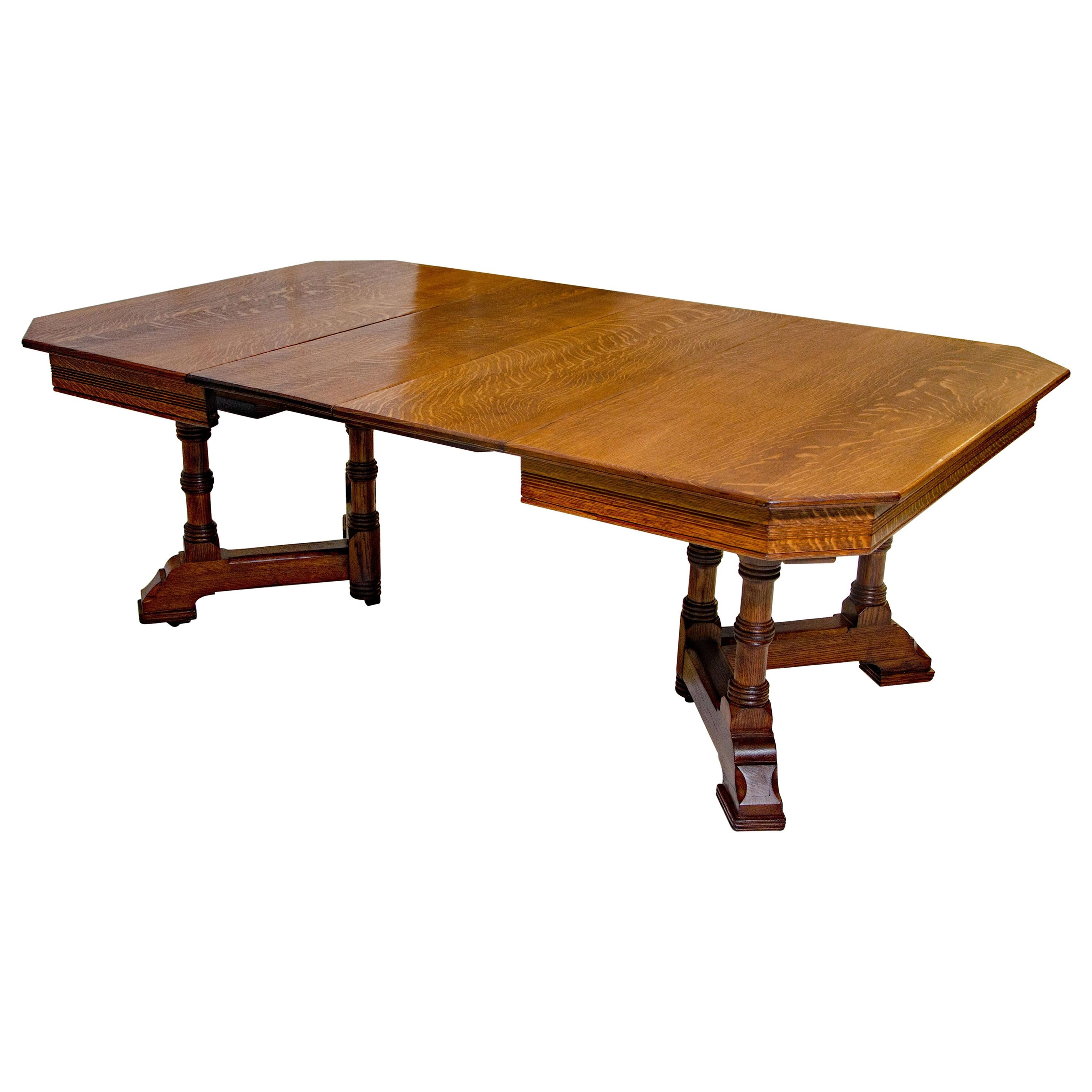 Victorian Oak Dining Table, Two Leaves