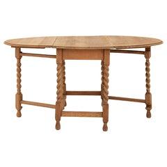 Victorian Oak Drop Leaf Table with Barley Twist Gate Leg