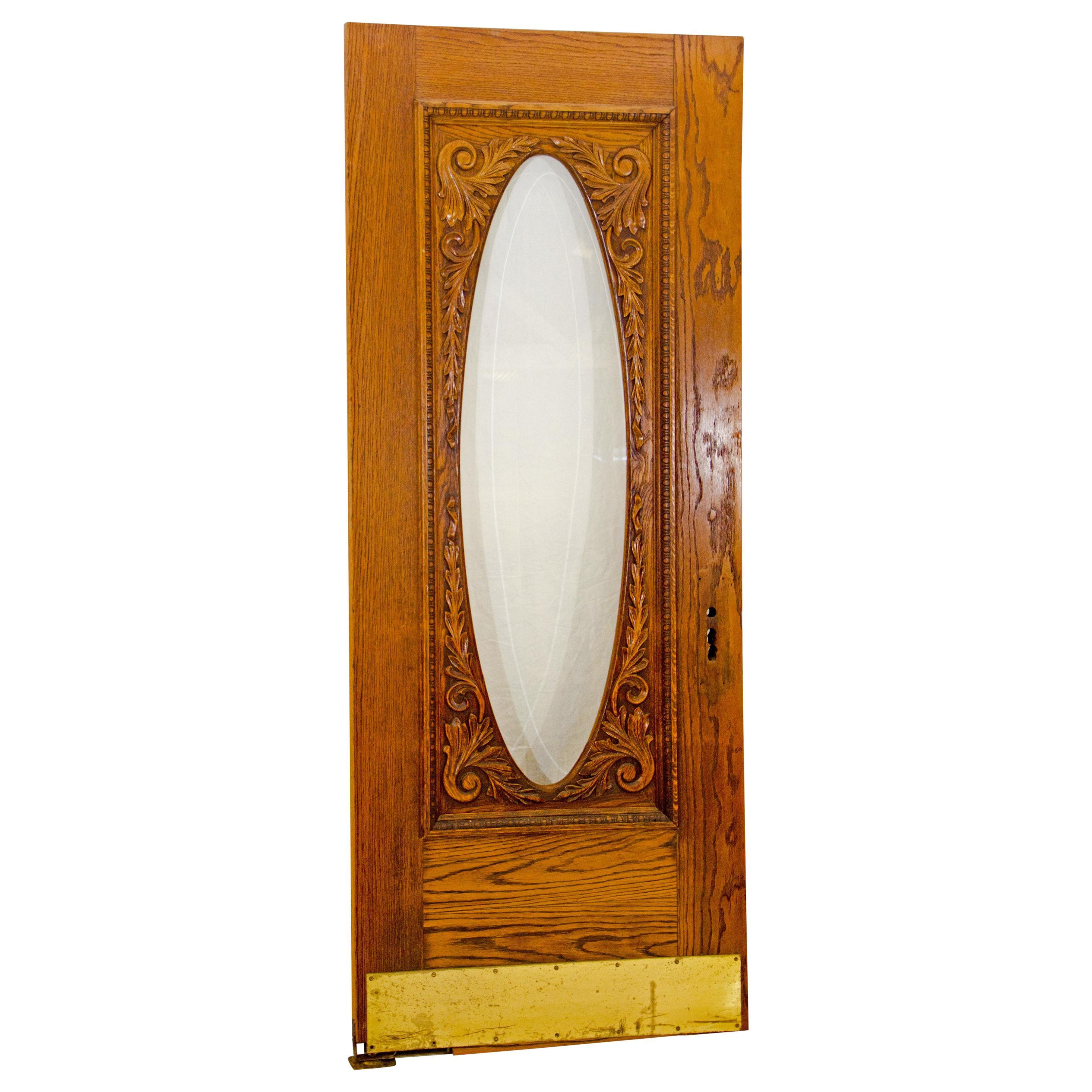 Victorian Oak Swinging Door, Oval Beveled Glass