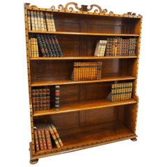 Victorian Oak Waterfall Bookcase in the Manner of Richard Bridgens