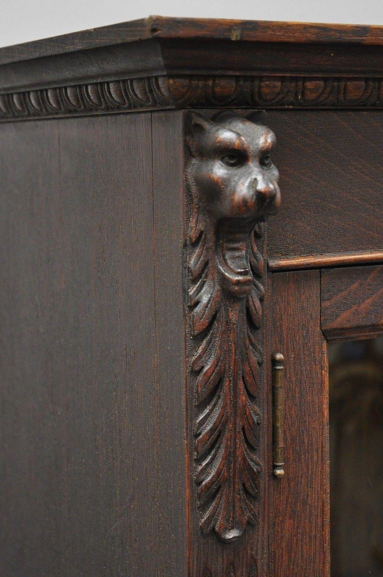 Victorian Oak Wood Glass Two Door Bookcase Claw Feet Lion and Northwind Face For Sale 5