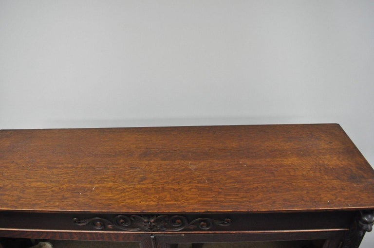 Victorian Oak Wood Glass Two Door Bookcase Claw Feet Lion and Northwind Face For Sale 7