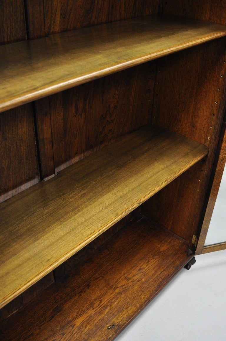 Victorian Oak Wood Glass Two Door Bookcase Claw Feet Lion and Northwind Face For Sale 4