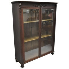 Victorian Oak Wood Glass Two Door Bookcase Claw Feet Lion and Northwind Face