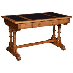 Victorian Oak Writing Table by Lamb of Manchester
