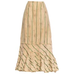 Victorian Off White & Green Silk Ikat Shadow Floral Satin Stripe 1890S Skirt Fro