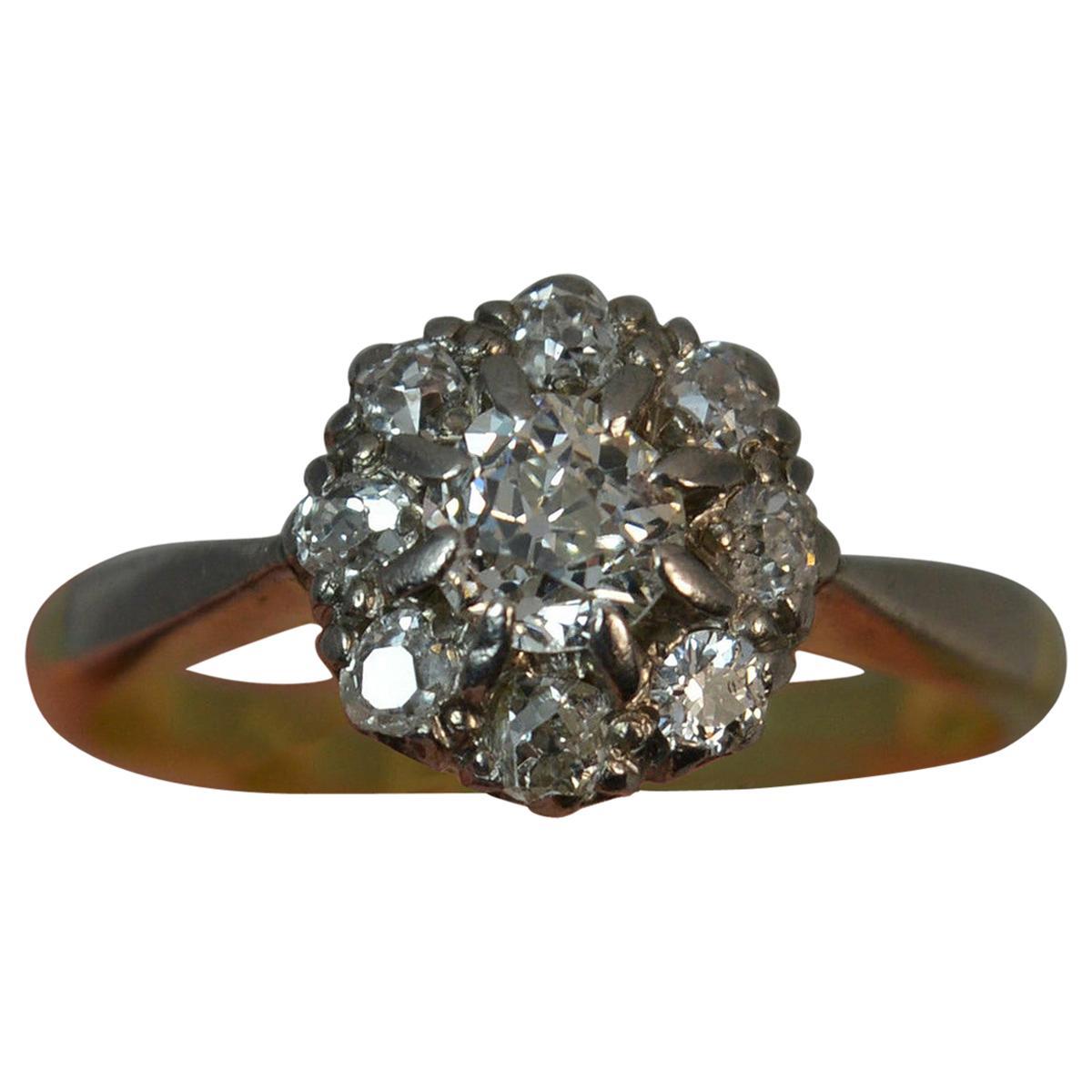 Victorian Old Cut Diamond 18 Carat Gold Platinum Cluster Ring