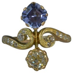 Victorian Old Cut Diamond and Sapphire 18 Carat Gold Ring