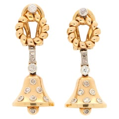 Victorian Old Cut Diamond Bell Drop Earrings Set in 18 Karat Rose and White Gold