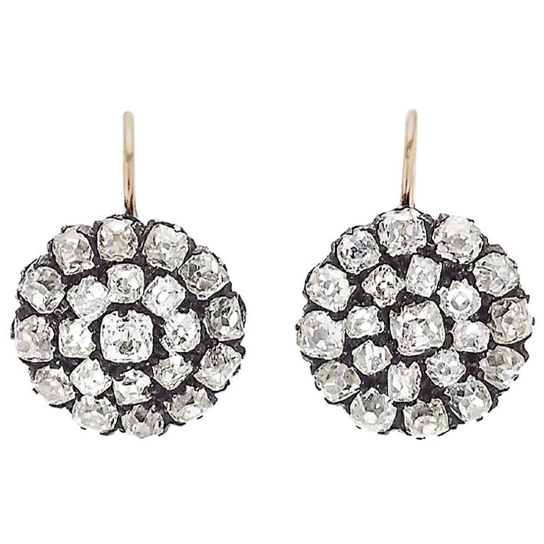 Victorian Old Cut Diamond Cluster Gold/Silver Drop Earrings