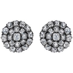Victorian Old Cut Diamond Cluster Stud Earrings