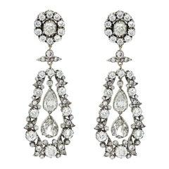 Victorian Old Cut Diamond Drop Cluster Earrings Set in Silver on Gold