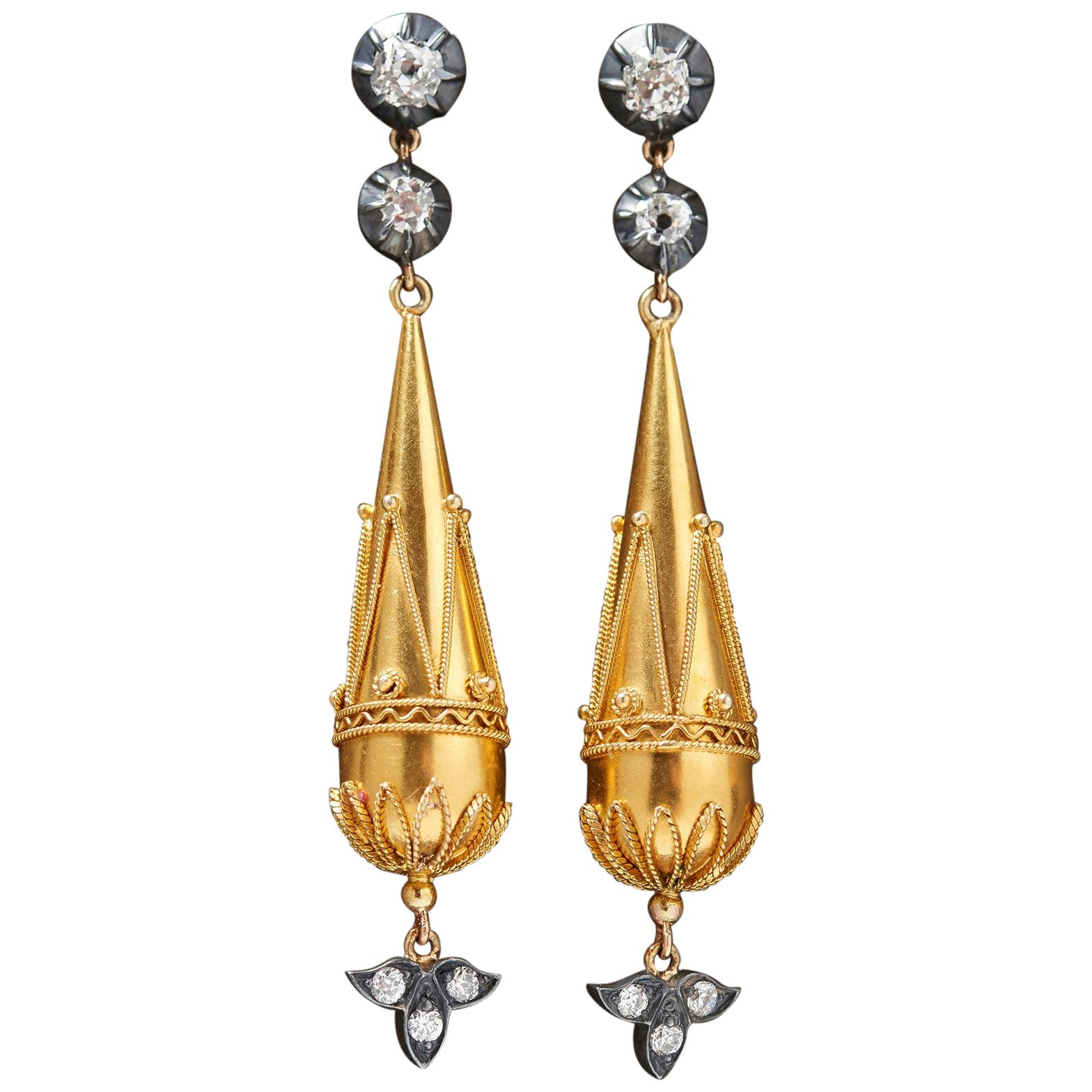 Victorian Old Cut Diamond Gold Dangle Earrings