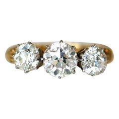 Victorian Old Cut Three-Stone Diamond Engagement Ring