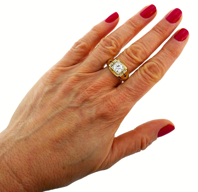 Victorian Old European Cut Diamond Gold Ring In Good Condition For Sale In Beverly Hills, CA