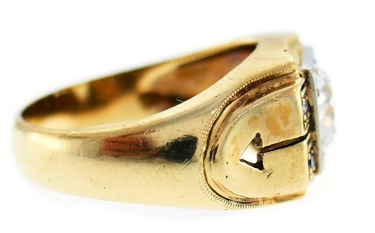 Women's or Men's Victorian Old European Cut Diamond Gold Ring For Sale