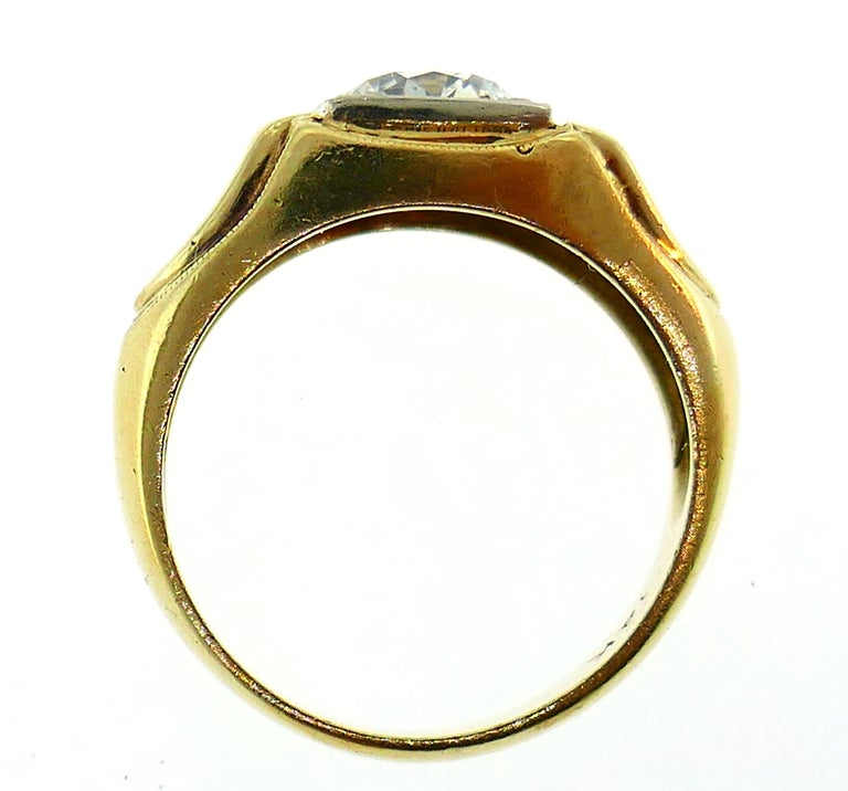 Victorian Old European Cut Diamond Gold Ring For Sale 2