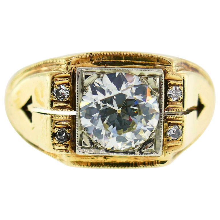 Victorian Old European Cut Diamond Gold Ring For Sale