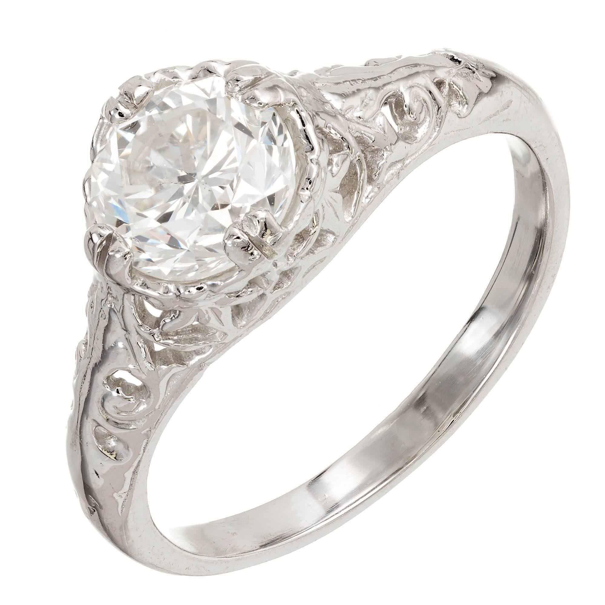 1.16 Carat Diamond Victorian Hand Pierced Platinum Engagement Ring