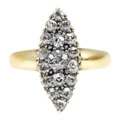Victorian Old European Cut Diamond Navette Ring