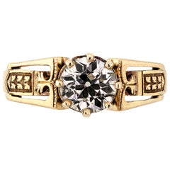 Victorian Old European Cut Solitaire Diamond Engagement Ring, 18 Karat