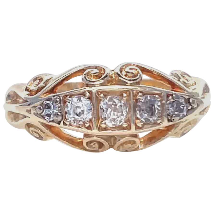 Victorian Old European Diamond 18 Karat Gold Gypsy Ring