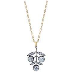 Victorian Old European Diamond Vine Pendant Necklace