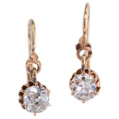 Victorian Old Mine Cushion Cut Diamond Drop Gold Earrings