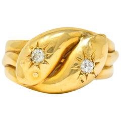 Victorian Old Mine Cut Diamond 18 Karat Gold British Snake Band Ring