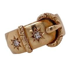 Victorian Old Mine Cut Diamond 18 Karat Yellow Gold Antique Buckle Ring