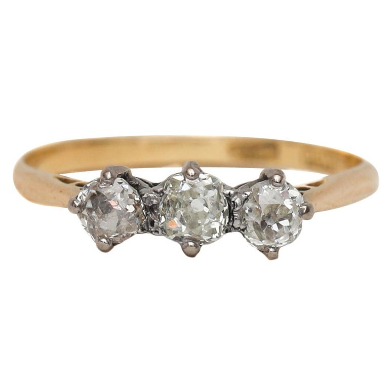 Victorian Old Mine Cut Diamond 3-Stone Ring Yellow Gold and Platinum For Sale