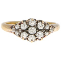 Victorian Old Mine Cut Diamond Cluster Ring Set in 18 Karat Yellow Gold