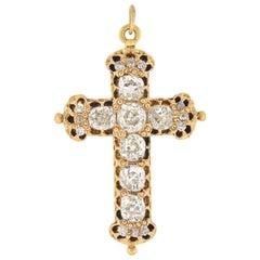 Victorian Old Mine Cut Diamond Cross Pin Pendant 4.50 Total Carat