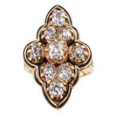 Victorian Old Mine Cut Diamond Enamel Gold Ring