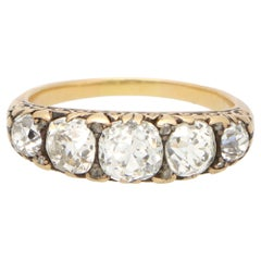 Victorian Old Mine Cut Diamond Five Stone Ring Set in Yellow Gold