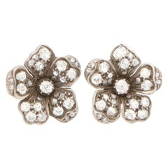 Victorian Old Mine Cut Diamond Flower Cluster Earrings Set in Silver on Gold