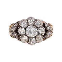 Victorian Old Mine Cut Diamond Flower Cluster Ring