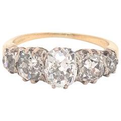 Victorian Old Mine Cut Diamond Ring 18 Karat Platinum 2.10 Carat