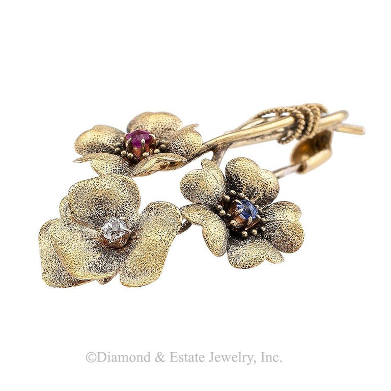 Victorian Old Mine Cut Diamond Ruby Sapphire Gold Posy Brooch In Good Condition For Sale In Los Angeles, CA