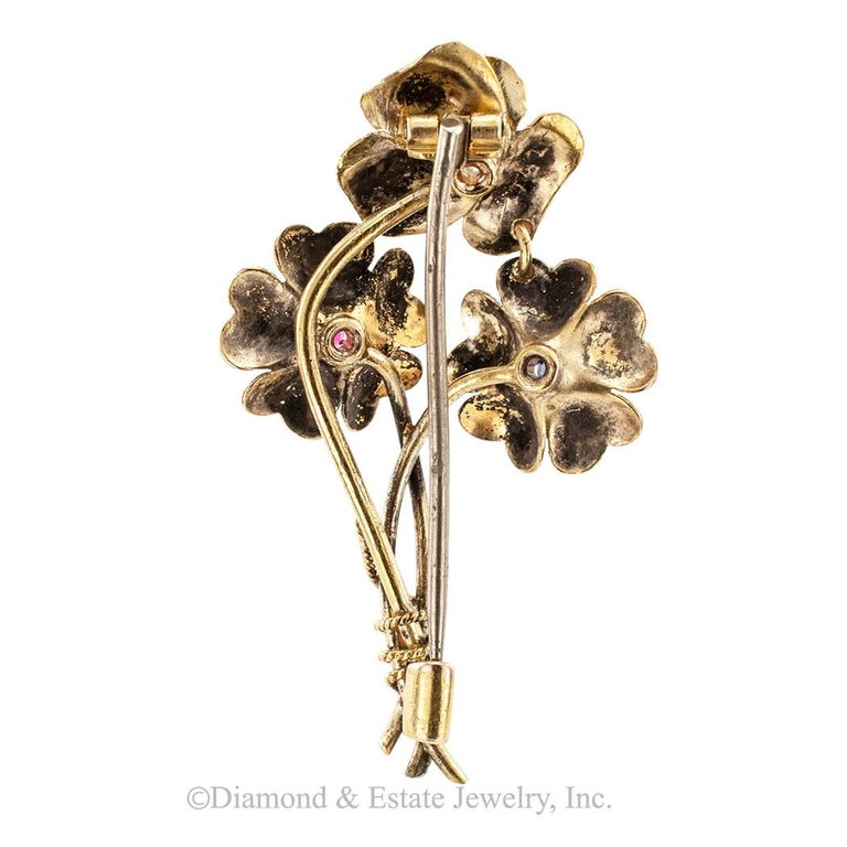 Women's Victorian Old Mine Cut Diamond Ruby Sapphire Gold Posy Brooch For Sale