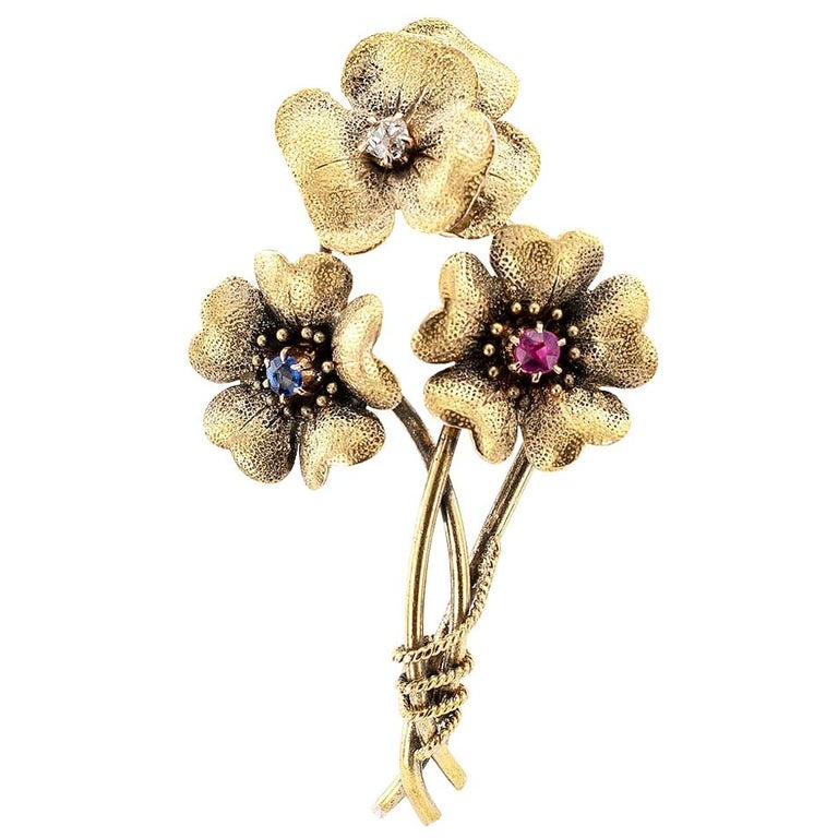 Victorian Old Mine Cut Diamond Ruby Sapphire Gold Posy Brooch For Sale